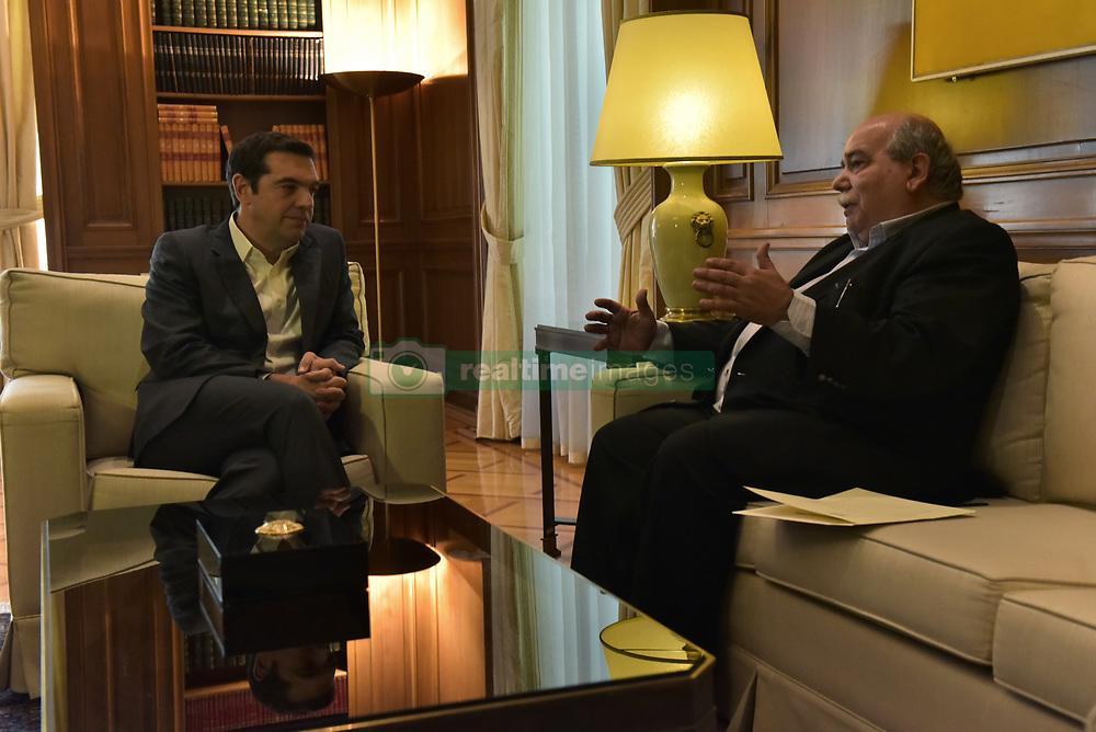 June 20, 2017 - Athens, Attiki, Greece - Greek Prime Minister Alexis Tsipras (left) and President of Hellenic Parliament, Nikos Voutsis (right) during their meeting. (Credit Image: © Dimitrios Karvountzis/Pacific Press via ZUMA Wire)
