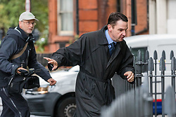 "© Licensed to London News Pictures. 26/09/2019. London, UK. Daren Timson-Hunt arrives at Westminster Magistrates court for sentencing. Timson-Hunt, a trained barrister and director of a primary school academy will be sentenced today after admitting ""up skirting"" a female passenger on the Northern Line at Embankment station in London. Photo credit: Vickie Flores/LNP"