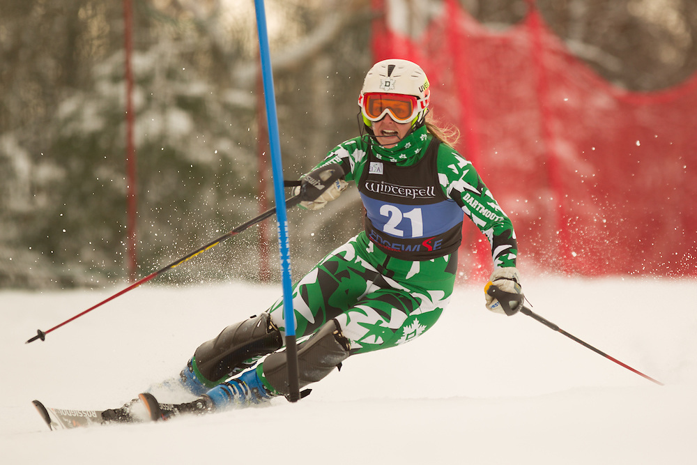 Abigail Fucigna of Dartmouth College, skis during the first run of the women's slalom at the Colby College Carnival at Sugarloaf Mountain on January 18, 2014 in Carabassett Valley, ME. (Dustin Satloff/EISA)