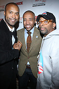 """l to r: Londell McMillan, Kevin Liles and Spike Lee at The Russell Simmons and Spike Lee  co-hosted""""I AM C.H.A.N.G.E!"""" Get out the Vote Party presented by The Source Magazine and The HipHop Summit Action Network held at Home on October 30, 2008 in New York City"""
