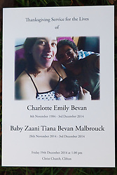 © Licensed to London News Pictures. 19/12/2014. Bristol, Avon, UK. The order of service for the funeral of Charlotte and Zaani Tiana Bevan, the mother and daughter who were found dead in Avon Gorge after leaving a St. Michael's Hospital in Bristol on 2nd December 2014. Photo credit : Rob Arnold/LNP