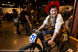 Brittney Olsen on her Born Free-6 1923 Harley-Davidson board track racer built by husband Matt shown on display on Saturday at the Handbuilt Motorcycle Show. Austin, TX. April 11, 2015.  Photography ©2015 Michael Lichter.