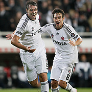 Besiktas's Hugo ALMEIDA (L) celebrate his goal with team mate during their Turkish Superleague Derby match Besiktas between Fenerbahce at the Inonu Stadium at Dolmabahce in Istanbul Turkey on Thursday, 207 October 2011. Photo by TURKPIX