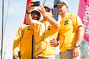 Image taken during the departure of the fleet, stating leg 2 of the 2014-2015 Volvo Ocean Race from Cape Town to Abu Dhabi. Image by Greg Beadle