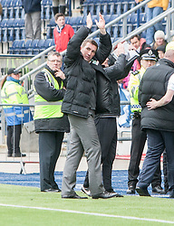 Hibernian's manager Alan Stubbs at the end. <br /> Falkirk 0 v 3 Hibernian, Scottish Championship game played at The Falkirk Stadium 2/5/2015.
