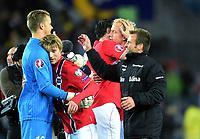Fotball<br /> UEFA Euro 2016 Matchday 3<br /> Norge v Bulgaria / Norway v Bulgaria 2:1<br /> 13.10.2014<br /> Foto: Morten Olsen, Digitalsport<br /> <br /> Ørjan Håskjold Nyland (12) - Molde / NOR<br /> Vegard Forren (21) - Molde / NOR<br /> Håvard Nielsen (18) - Eintracht Braunschweig / NOR (R)<br /> <br /> Martin Ødegaard (9) - Strømsgodset / NOR<br /> Martin became the youngest ever player to participate in an EURO game 15 years 301 days - here together with uncle Thomas Ødegaard