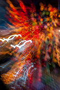 Streaming lights at night in Chiang Mai abstract. RAW to Jpg