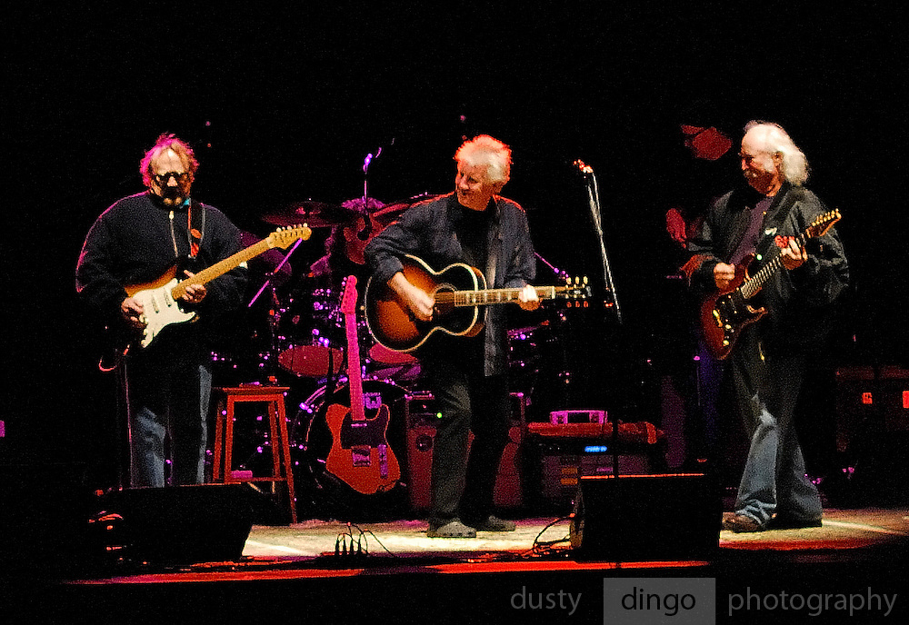 Stephen Stills, Graham Nash and David Crosby, Crosby Stills and Nash, on stage.