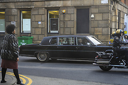 February 8, 2020, Manchester, United Kingdom: Actress EMMA CORRIN is seen in a limo as she plays Diana, Princess of Wales, as Manchester's Northern Quarter is transformed into New York for filming of a scene from Series 4 of 'The Crown'. The Netflix series has been filming a scene where Princess Diana visited Henry Street Settlement in New York during her official visit in February 1989. (Credit Image: © Stephen Cottrill/London News Pictures via ZUMA Wire)