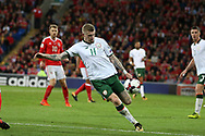James McClean of Republic of Ireland in action.  Wales v Rep of Ireland , FIFA World Cup qualifier , European group D match at the Cardiff city Stadium in Cardiff , South Wales on Monday 9th October 2017. pic by Andrew Orchard, Andrew Orchard sports photography