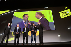 October 25, 2018 - Paris, France - PRUDHOMME Christian (FRA) Director of ASO, Eddy Merckx, Bernard Hinault and Miguel Indurain pictured during the presentation of the 2019 Tour de France at the Palais des Congres (Credit Image: © Panoramic via ZUMA Press)