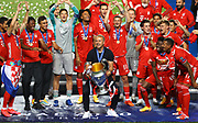 LISBON, PORTUGAL - AUGUST 23: Hans-Dieter Flick, Head Coach of FC Bayern Munich lifts the Champions League Trophy following his team's victory in the UEFA Champions League Final match between Paris Saint-Germain and Bayern Munich at Estadio do Sport Lisboa e Benfica on August 23, 2020 in Lisbon, Portugal.