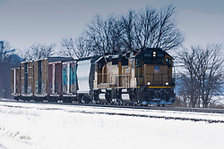 Union Pacific locomotive 1169 pulls a short load of just 6 cars.  UP 1169 is powered by a EMD GP60.  This load was sighted just north of McLean Illinois.