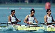 Barcelona, SPAIN. GBR M4-,  left to right Bow, Salih HASSAN,.John GARRETT,   Gavin STEWART,  1992 Olympic Rowing Regatta Lake Banyoles, Catalonia [Mandatory Credit Peter Spurrier/ Intersport Images]