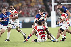 September 20, 2019, Tokyo, Japan: Russia's Vasily Artemyev is tackled by Japan's Ryoto Nakamura during the Rugby World Cup 2019 Pool A match between Japan and Russia at Tokyo Stadium. Japan defeats Russia 30-10. (Credit Image: © Rodrigo Reyes Marin/ZUMA Wire)
