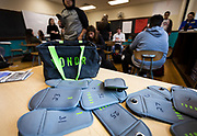 YONDR pouches are seen at the front of the Algebra 1 class at West High School in Madison, WI on Friday, April 12, 2019.