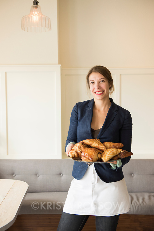 Portrait of owner Susannah Gebhart at Old World Levain Bakery (OWL), a bakery and coffee shop owned located at 295 Haywood Road in the West Asheville neighborhood of Asheville, North Carolina.