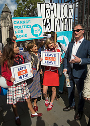 © Licensed to London News Pictures. 04/09/2019. London, UK. Brexit Party MEP MARTIN DAUBNEY (R) is joined by Pro Brexit campaigners outside the Houses of Parliament in Westminster, London. British Prime Minister Boris Johnson has a called for a general election after losing his first commons vote and losing his majority, removing his control of parliament. Photo credit: Ben Cawthra/LNP
