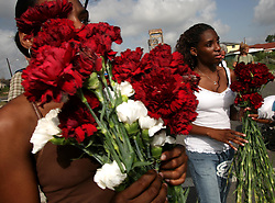 29 August 2006. New Orleans, Louisiana. Lower 9th ward. Great Flood commemoration and memorial ceremony; to 'honor and remember our loved ones who have passed. <br /> Twin sisters, 17 year old Whitney (rt) and Britney Bickham hand out red carnations to mourners as people prepare to pay tribute to and salute the victims of hurricane Katrina, which struck one year ago today.<br /> Photo Credit©; Charlie Varley/varleypix.com