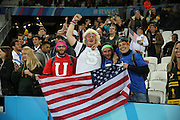 USA fans celebrating even in defeat during the Rugby World Cup Pool B match between South Africa and USA at the Queen Elizabeth II Olympic Park, London, United Kingdom on 7 October 2015. Photo by Matthew Redman.