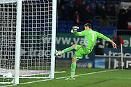 Cardiff city keeper David Marshall kicks the post in frustration after  Barnsley's Stephen Foster scores the equaliser to make it 1-1.  Npower championship, Cardiff city v Barnsley at the Cardiff city stadium in Cardiff, South Wales on Tuesday 9th April 2013. pic by Andrew Orchard,  Andrew Orchard sports photography,