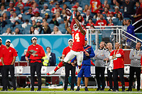Kansas City Chiefs wide receiver Sammy Watkins (14) runs the ball after a catch during the NFL Super Bowl 54 football game between the San Francisco 49ers and Kansas City Chiefs Sunday, Feb. 2, 2020, in Miami Gardens, Fla.<br /> <br /> ( Tom DiPace via AP)