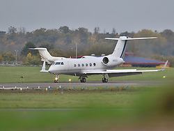© Licensed to London News Pictures. 30/10/2015. London, UK. A plane carrying former Guantanamo Bay detainee, Shaker Aamer arriving at Biggin Hill airport's  Photo credit: Ben Cawthra/LNP