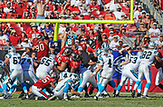 Nov 13, 2010, Tampa, Florida, USA;  The Tampa Bay Buccaneers Special Teams try to block a field goal attempt from Carolina Panther Kicker John Kasay in the Tampa Bay 31-16 victory over Carolina.