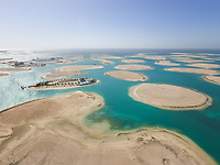 DUBAI, UNITED ARAB EMIRATES - 1 May 2016 : Aerial view of The World Islands in Dubai, United Arab Emirates.