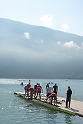 Aiguebelette, FRANCE. USA M8+, prepare for a morning training session at the 2014 FISA World Cup II, 09:24:28  Thursday  19/06/2014. [Mandatory Credit; Peter Spurrier/Intersport-images] © Peter SPURRIER, Atmospheric, Rowing
