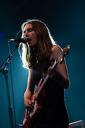 © Licensed to London News Pictures. 17/07/2013. London, UK.   Wolf Alice performing live at Somerset House, supporting headliner Tom Odell.   Wolf Alice are a four-piece rock band from North London composed of band members Ellie Rowsell, Joel Amey, Joff Oddie and Theo Ellis.     Photo credit : Richard Isaac/LNP