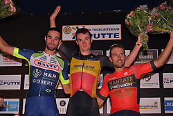 August 3, 2018 - Putte, BELGIUM - Belgian Yves Lampaert of Quick-Step Floors (C) celebrates after winning the 3rd edition of the 'Natourcriterium Putte' cycling event, Friday 03 August 2018 in Putte. The contest is a part of the traditional 'criteriums', local races in which mainly cyclists who rode the Tour de France compete...BELGA PHOTO LUC CLAESSEN (Credit Image: © Luc Claessen/Belga via ZUMA Press)