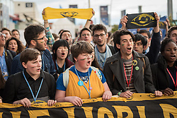 13 December 2019, Madrid, Spain: As COP25 is about to draw to a close, hundreds of young people mobilize through Fridays for Future in a strike for the climate, inside and outside the venue of COP25 in Madrid, calling for urgent action for climate justice. Here, Saoirse O'Connor (centre) leads the way.