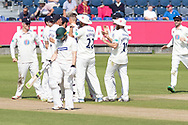 5 WICKETS -Brydon Carse is congratulated for his 5 wickets during the Specsavers County Champ Div 2 match between Durham County Cricket Club and Leicestershire County Cricket Club at the Emirates Durham ICG Ground, Chester-le-Street, United Kingdom on 20 August 2019.