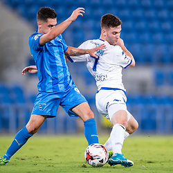 BRISBANE, AUSTRALIA - SEPTEMBER 20: Benjamin Lyvidikos of Gold Coast City and Nick Epifano of South Melbourne compete for the ball during the Westfield FFA Cup Quarter Final match between Gold Coast City and South Melbourne on September 20, 2017 in Brisbane, Australia. (Photo by Gold Coast City FC / Patrick Kearney)