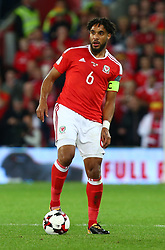 October 9, 2017 - Cardiff City, Walles, United Kingdom - Ashley Williams of Wales .during FIFA World Cup group qualifier match between Wales and Republic of Ireland at the Cardiff City Stadium, Cardiff, Wales on 9 October 2017. (Credit Image: © Kieran Galvin/NurPhoto via ZUMA Press)