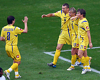 0:3 Jubel Ukraine v.l. Oleg Shelayev, Andrej Shevchenko, Torschuetze Maksym Kalinichenko, Ruslan Rotan<br /> Fussball WM 2006 Saudi-Arabien - Ukraine<br /> Saudi-Arabia - Ukraina <br /> Norway only
