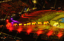 JOHANNESBURG, July 12, 2010  Elephant puppeteers perform during the closing ceremony of the 2010 FIFA football World Cup ahead of the final between the Netherlands and Spain on July 11, 2010 at Soccer City stadium in Johannesburg, South Africa. (Xinhua/Chen Haitong) (Credit Image: © Xinhua via ZUMA Wire)