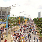 A panoramic shot of Sydney Olympic Park during the 2000 Sydney Olympics...Panoramic images from the Sydney Olympic Games, Sydney, Australia.  2000 . Photo Tim Clayton