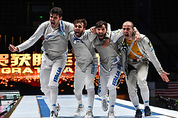WUXI, July 27, 2018  Players of Italy celebrate after winning the men's foil team final between Italy and the United States at the Fencing World Championships in Wuxi, east China's Jiangsu Province, July 27, 2018. Italy beat US 45-34 and claimed the title of the event. (Credit Image: © Li Bo/Xinhua via ZUMA Wire)