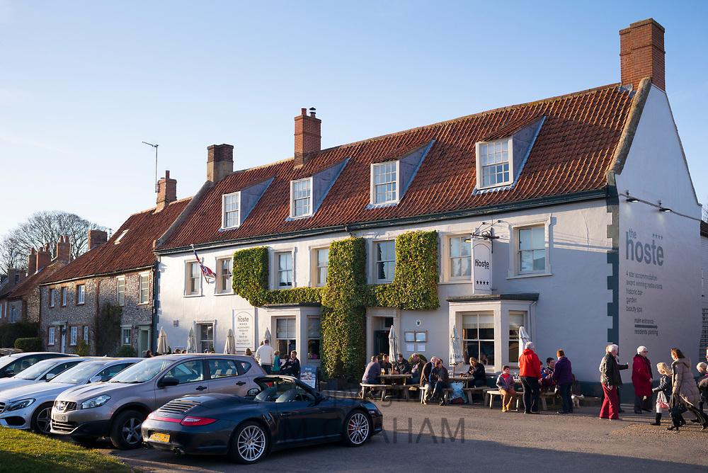 The Hoste Arms public house ( pub ) bar and restaurant at Burnham Market in North Norfolk, UK