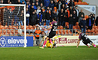 Peterborough United's Dan Butler (right) heads through his own net to score Blackpool's fourth goal <br /> <br /> Photographer Kevin Barnes/CameraSport<br /> <br /> The EFL Sky Bet Championship - Blackpool v Peterborough United - Saturday 2nd November 2019 - Bloomfield Road - Blackpool<br /> <br /> World Copyright © 2019 CameraSport. All rights reserved. 43 Linden Ave. Countesthorpe. Leicester. England. LE8 5PG - Tel: +44 (0) 116 277 4147 - admin@camerasport.com - www.camerasport.com