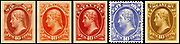 Group of five official postage stamps depicting Thomas Jefferson issued in 1915