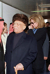 L-R : King Hussein of Jordan and his wife Queen Noor (crying) as King Hussein leaves back to the USA, at Amman airport, Jordan on January 26, 1999. Twenty years ago, end of January and early February 1999, the Kingdom of Jordan witnessed a change of power as the late King Hussein came back from the United States of America to change his Crown Prince, only two weeks before he passed away. Photo by Balkis Press/ABACAPRESS.COM