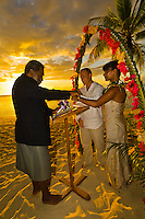 Sunset wedding ceremony, Tokokiki Island Resort, Fiji Islands