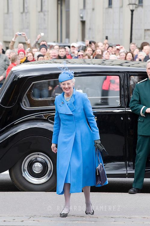 14.04.11. Copenhagen, Denmark.Queen Margrethe's and Prince Henrik's arrival to the Holmens Church to christening ceremony.Photo: Ricardo Ramirez