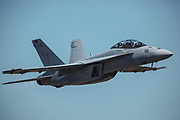 USA, Oregon, Hillsboro, F/A-18F Super Hornet during demonstration at the Oregon International AIrshow.