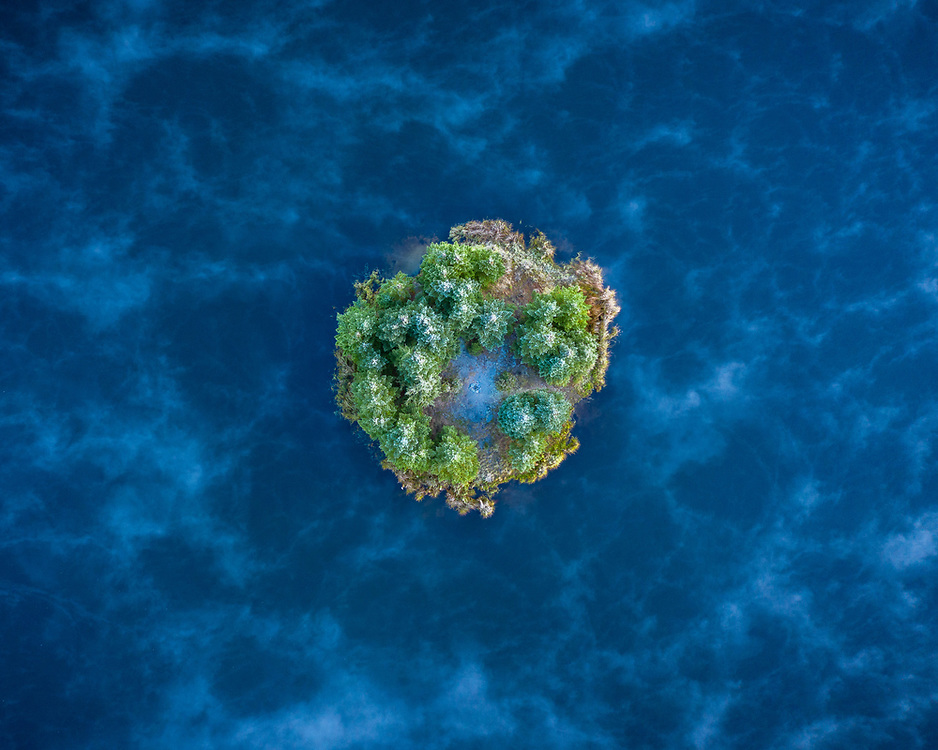Abstract aerial photograph of an island in a lake in the Green Mountain National Forest, Vermont