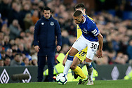Everton forward Richarlison (30) holds off Chelsea defender Cesar Azpilicueta (28) during the Premier League match between Everton and Chelsea at Goodison Park, Liverpool, England on 17 March 2019.