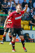Danny Mullen of St Mirren comes close with a shot from distance during the Ladbrokes Scottish Premiership match between Livingston and St Mirren at Tony Macaroni Arena, Livingstone, Scotland on 20 April 2019.
